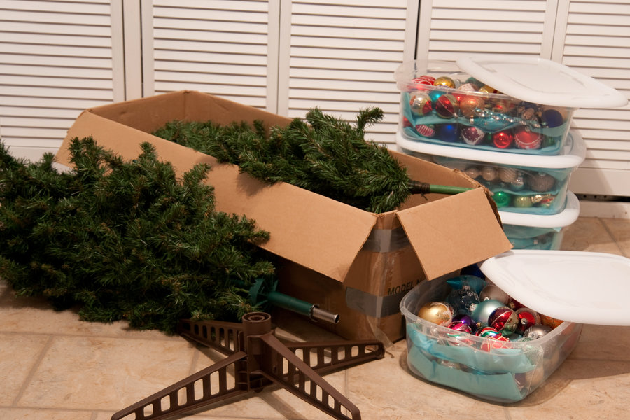 Christmas decorations & tree  in storage